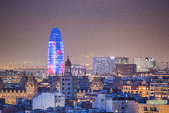 Barcelona at night Agbar Tower. Barcelona skyline panorama at night stock images