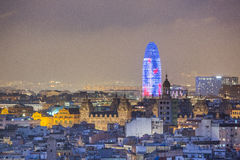 Barcelona at night Agbar Tower. Barcelona skyline panorama at night royalty free stock photos