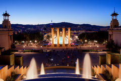 Barcelona Night Cityscape Stock Images