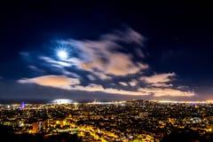 Barcelona by night. Night cityscape of Barcelona. from turo de la Rovira Royalty Free Stock Photos