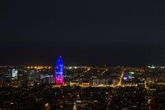 Barcelona by night. Night cityscape of Barcelona. From Turo de la Rovira Royalty Free Stock Image