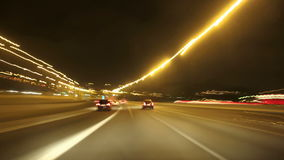 Barcelona Night Highway Cameracar Stock Photos