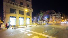 Barcelona night light traffic crossroad 4k time lapse spain stock video