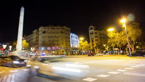 Barcelona night light traffic crossroad monument 4k time lapse spain stock video footage
