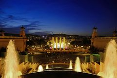 Barcelona at night, Montjuic fountains. Night view of Barcelona, Spain, with the Magic Fountain of Montjuic, a real show of lights stock images
