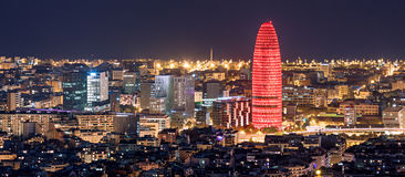 Barcelona at night. Panorama showing prominent towers Stock Photos