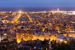 Barcelona night panoramic view, Spain Royalty Free Stock Photos
