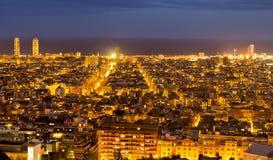 Barcelona night panoramic view, Spain Stock Photos