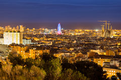 Barcelona night panoramic view, Spain Stock Images