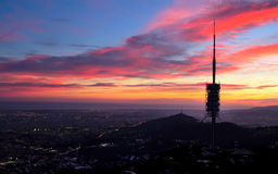 Barcelona at night with the silhouette of the television antenna Stock Image