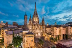 Barcelona Cathedral at night, Spain. Barcelona night skyline with the gothiathedral, Spain royalty free stock images