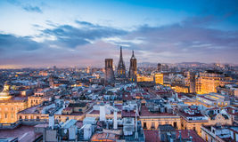 Barcelona at night. Barcelona skyline panorama at night royalty free stock photography