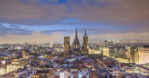 Barcelona at night. Barcelona skyline panorama at night royalty free stock images