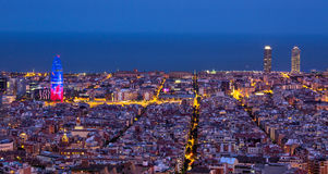 Barcelona at night. Barcelona skyline at night, view from the Bunkers del Carmel royalty free stock images