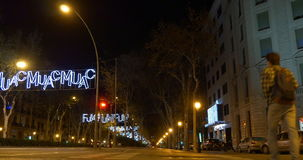 Barcelona night time traffic lights street 4k spain stock video