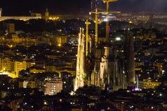 Barcelona night view. Sagrada Familia. stock image