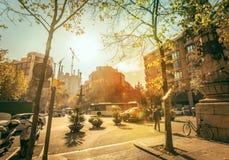 Barcelona no outono com bicicleta Foto de Stock Royalty Free