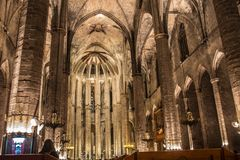 Night panorama inside the gothic church of Santa Maria del Mar in the Ribera district of Barcelona, Catal Royalty Free Stock Photos