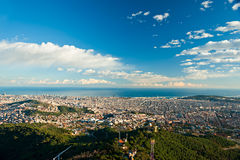 barcelona od Tibidano, Barcelona, Hiszpania. Zdjęcie Stock