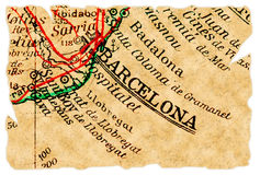 Barcelona old map stock image