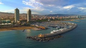 Barcelona Olimpyc Port. Ciutadella vila olimpica, aerial view in a summer day at sunset stock video