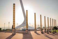 Barcelona-Olympiapark bei Sonnenuntergang stockbilder