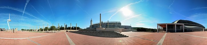 Barcelona, Olympic city, 360° panorama Royalty Free Stock Photography