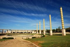 Barcelona, Olympic city. Pillars in front of L' Estadi Olímpic (Olympic stadium) of MontJuic Royalty Free Stock Photos