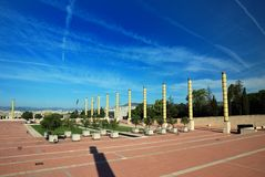 Barcelona, Olympic city. Pillars in front of L' Estadi Olímpic (Olympic stadium) of MontJuic Royalty Free Stock Photo