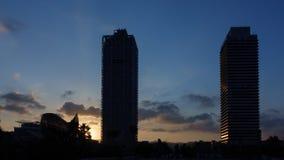 Barcelona olympic city port sunset timelapse stock footage