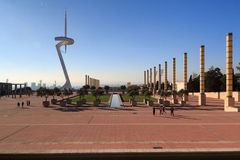 Barcelona olympic park (Anella Olimpica) and Montjuic Communications Tower Royalty Free Stock Photo