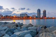 Barcelona. Olympic port at dawn. Stock Images