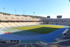 Barcelona Olympic Stadium (Estadi Olimpic Lluis Companys) on mountain Montjuic, Spain Stock Photos