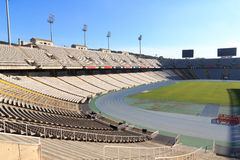 Barcelona Olympic Stadium (Estadi Olimpic Lluis Companys) on mountain Montjuic Stock Photos