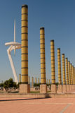 Barcelona Olympic Stadium Grounds. Tubular lamp posts and communications tower located at the Anella Olimpica grounds in Barcelona Stock Image