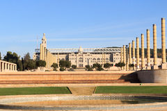 Barcelona Olympic Stadium, olympic park and Placa d Europa Stock Photography