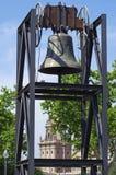 Barcelona - olympische Glocke mit Ansicht zu mnac Museum Lizenzfreie Stockfotografie