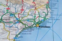 Barcelona op kaart stock afbeelding