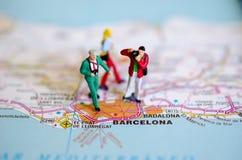 Barcelona op kaart royalty-vrije stock foto