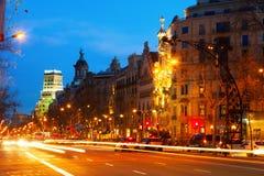 Barcelona Opinión de la tarde Passeig de Gracia Imagen de archivo