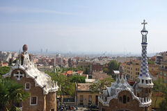 Barcelona Overlook. Overlooking the city of Barcelona Spain from Park Guell by Antonio Gaudi Royalty Free Stock Photo