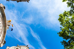 Barcelona palaces and trees from the bottom Stock Image