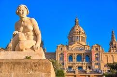 Barcelona Palau Nacional na hora dourada Fotografia de Stock Royalty Free