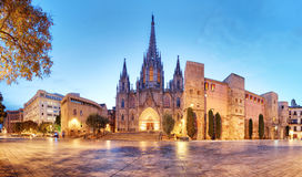 Barcelona, Panorama of Cathedral, Barri Gothic Quarter.  royalty free stock photo