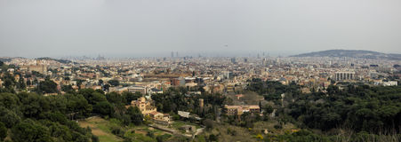 Barcelona panorama. Panoramic view of Barcelona from the mountains by cloudy day, Spain Stock Photography