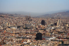 Barcelona Panorama with Sagrada Familia Royalty Free Stock Images