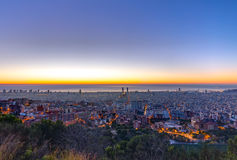 Barcelona panorama before sunrise Royalty Free Stock Images