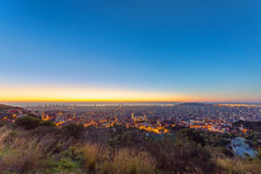 Barcelona panorama at sunrise Stock Images