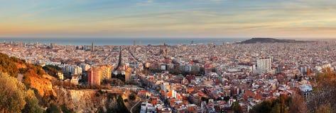 Barcelona panorama at sunset stock image