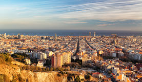 Barcelona panorama at sunset Royalty Free Stock Photos